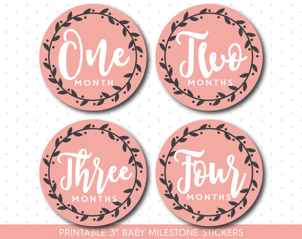 Coral monthly baby milestone stickers with babies first 12 months, MS-52