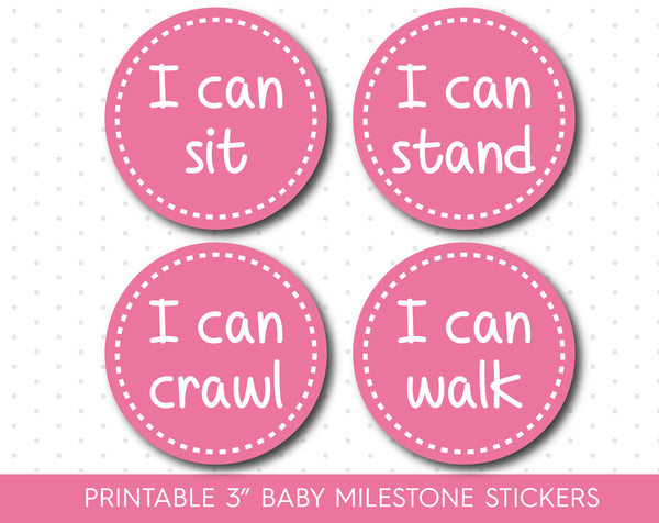 Candy pink baby milestone stickers, Printable monthly milestone stickers, MS-61