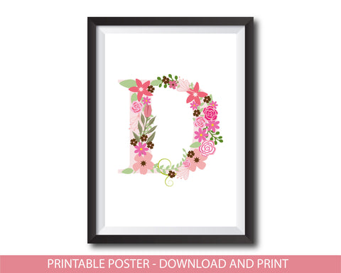 Floral nursery poster with the letter D, Printable initial D nursery poster, NP1-D