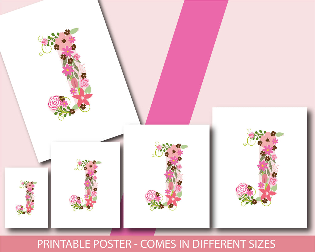 Floral nursery poster with the letter J, Printable initial J nursery ...