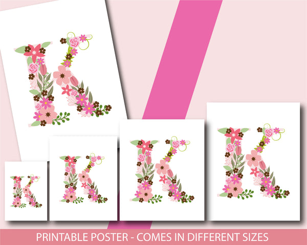 Floral nursery poster with the letter K, Printable initial K nursery poster, NP1-K