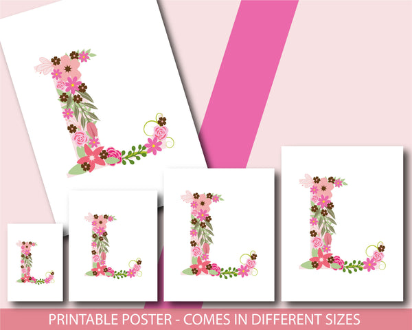 Floral nursery poster with the letter L, Printable initial L nursery poster, NP1-L