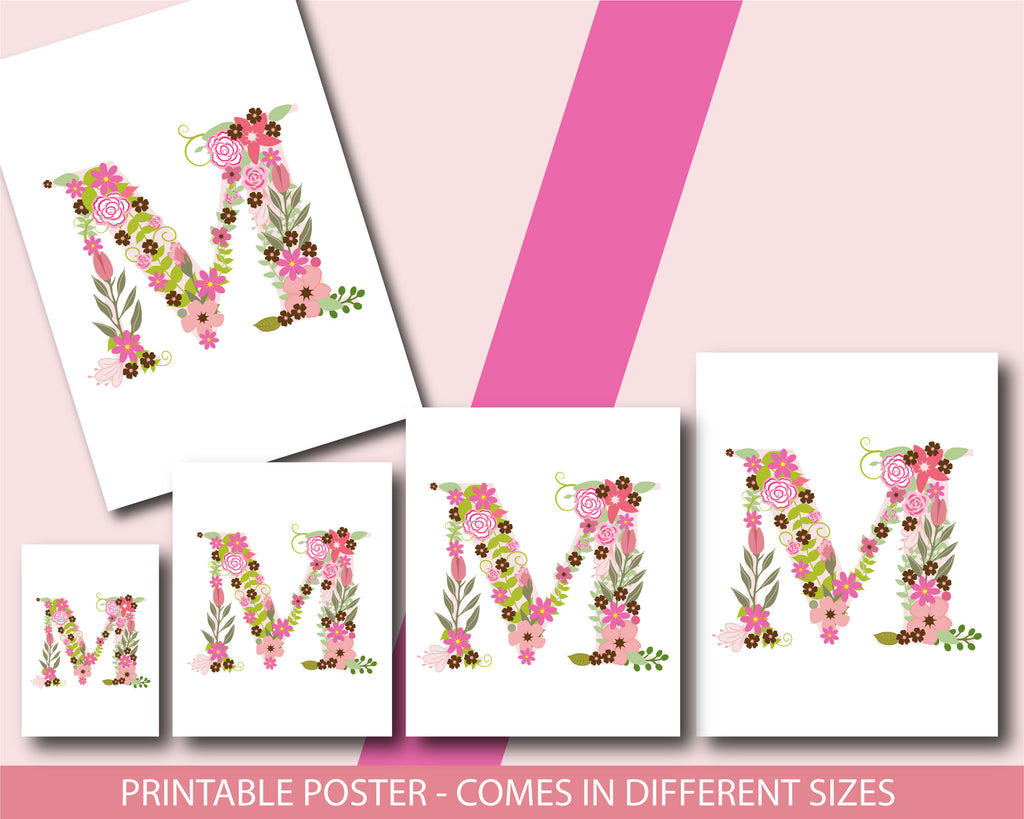 Floral nursery poster with the letter M, Printable initial M nursery ...