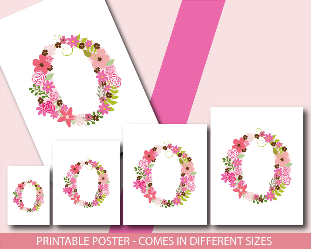 Floral nursery poster with the letter O, Printable initial O nursery ...