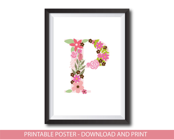 Floral nursery poster with the letter P, Printable initial P nursery poster, NP1-P