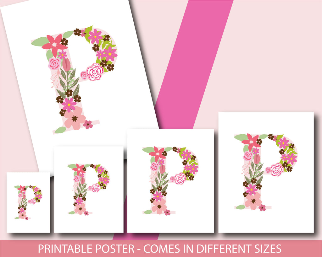 Floral nursery poster with the letter P, Printable initial P nursery ...