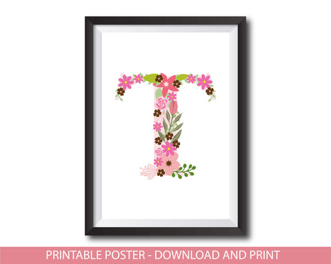 Floral nursery poster with the letter T, Printable initial T nursery poster, NP1-T