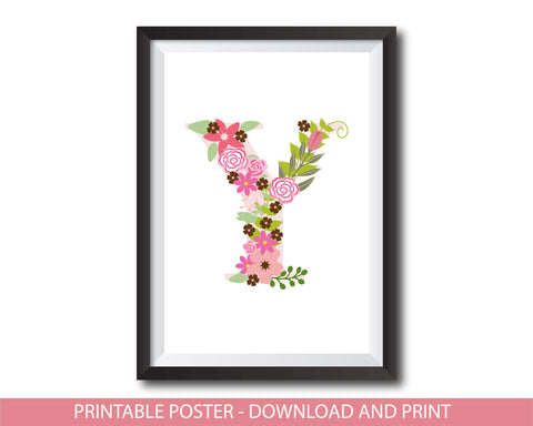 Floral nursery poster with the letter Y, Printable initial Y nursery poster, NP1-Y