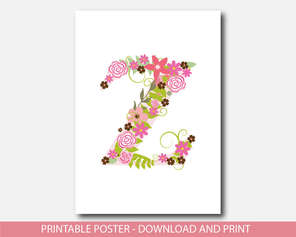 Floral nursery poster with the letter Z, Printable initial Z nursery poster, NP1-Z