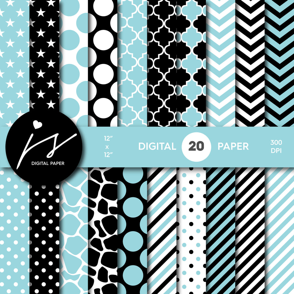 Baby blue and black digital paper with polka dots, stripes, chevron, damask and safari scrapbooking bundle, PA-156