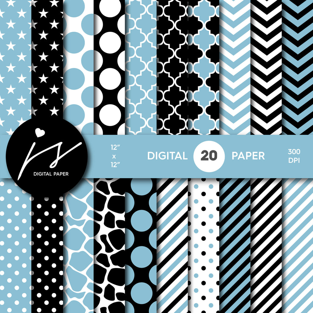 Pool blue and black digital paper with polka dots, stripes, chevron, damask and safari scrapbooking bundle, PA-164