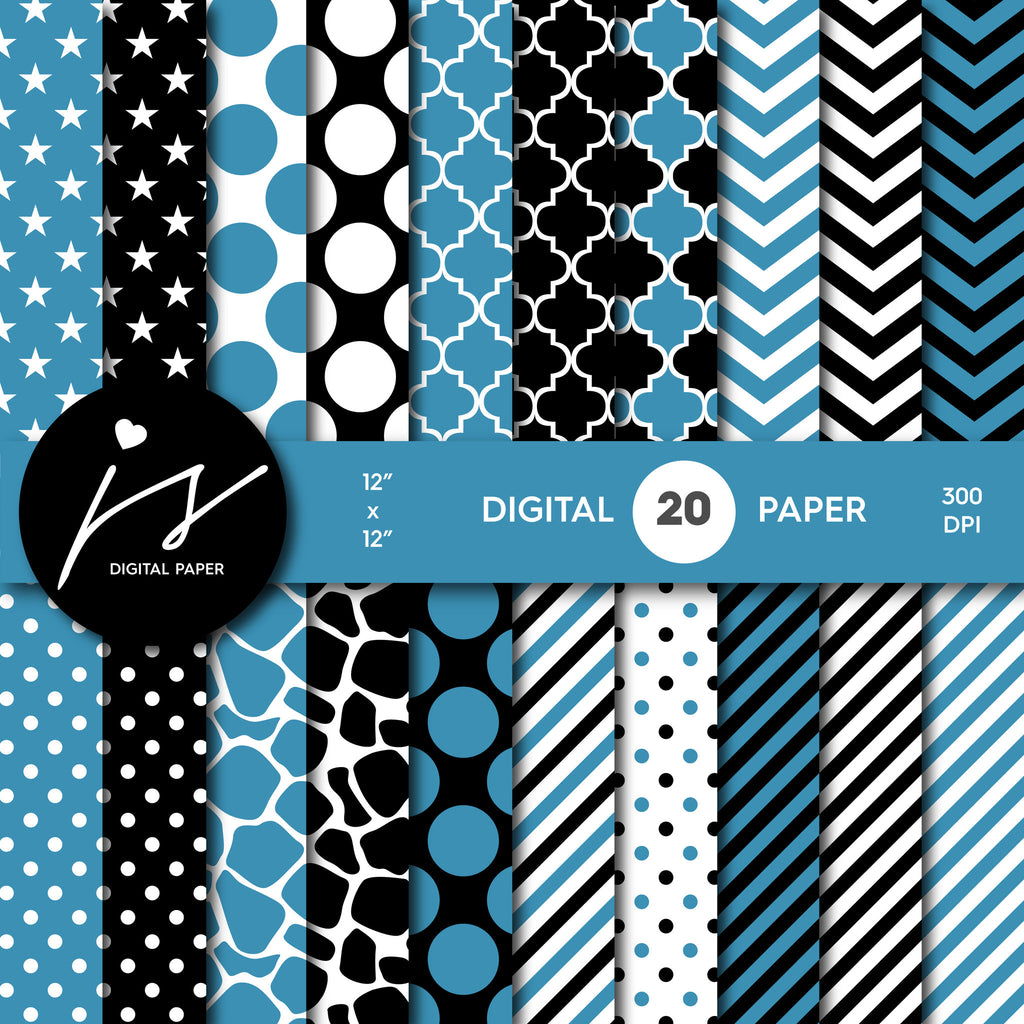 Blue and black digital paper with polka dots, stripes, chevron, damask and safari scrapbooking bundle, PA-166