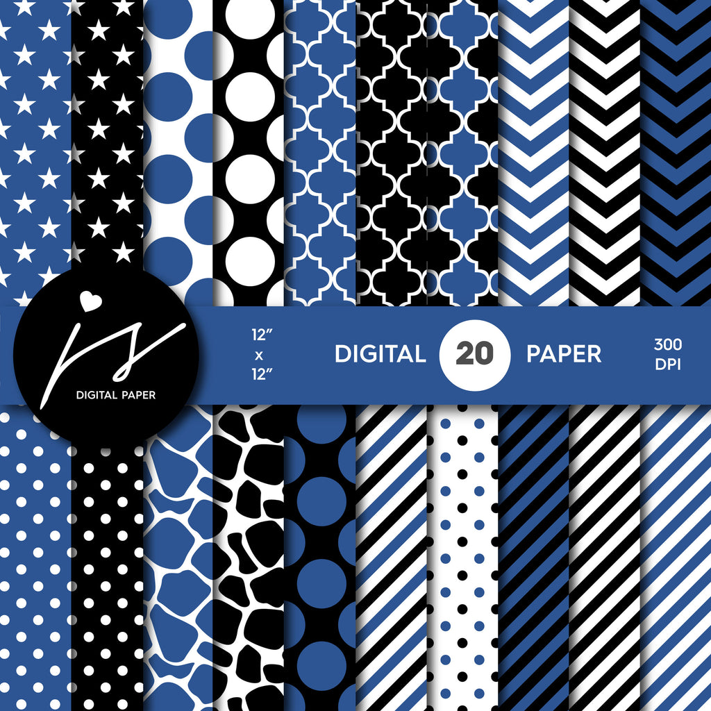 Celestial blue and black digital paper with polka dots, stripes, chevron, damask and safari scrapbooking bundle, PA-168