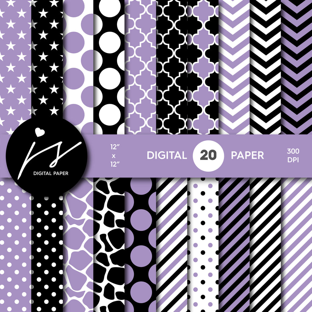 Lavender and black digital paper with polka dots, stripes, chevron, damask and safari scrapbooking bundle, PA-171