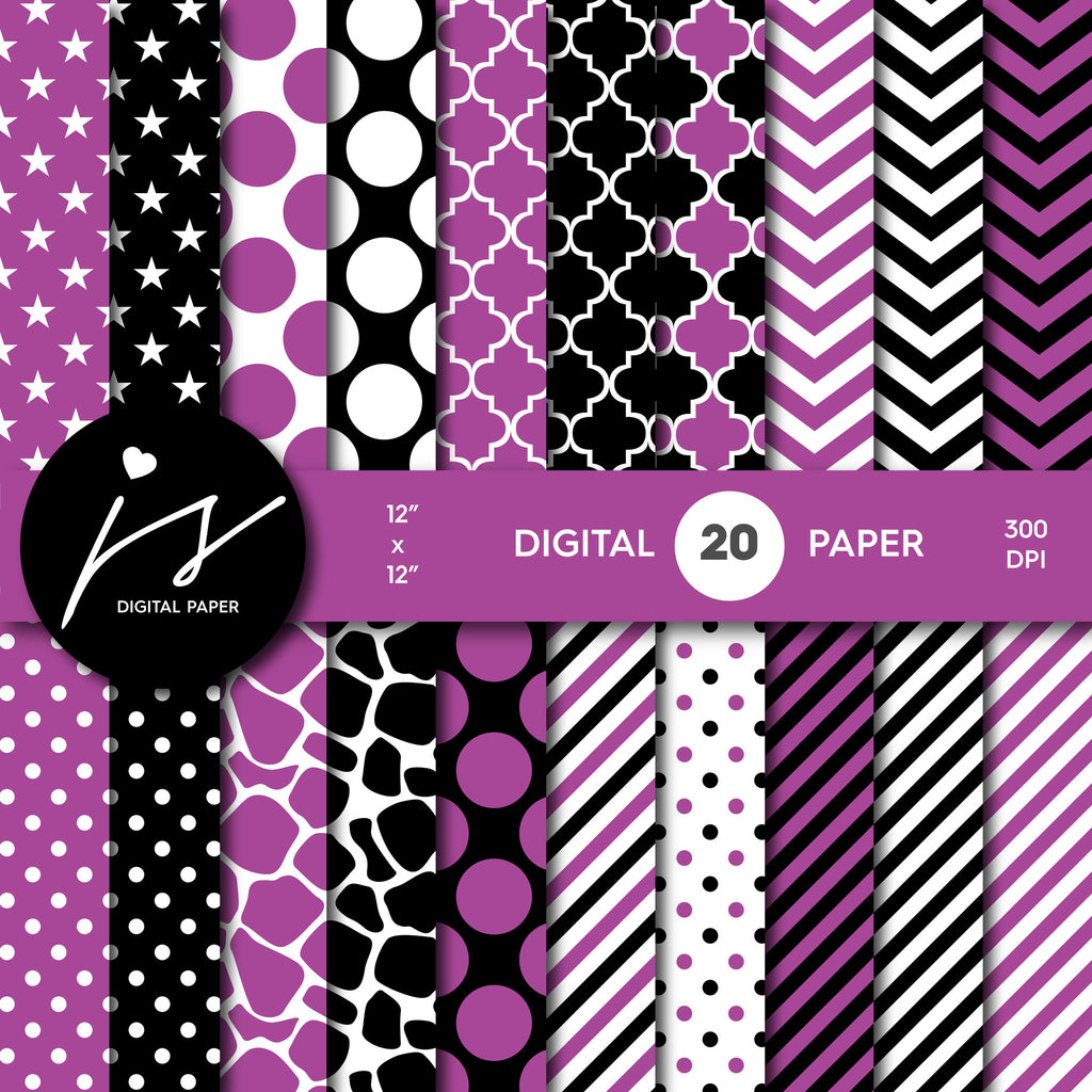 Berry purple and black digital paper with polka dots, stripes, chevron, damask and safari scrapbooking bundle, PA-173