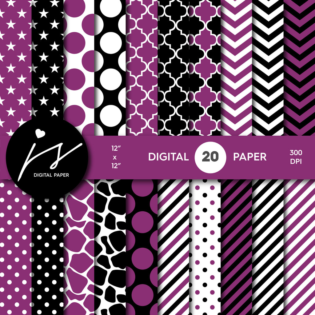 Jam purple and black digital paper with polka dots, stripes, chevron, damask and safari scrapbooking bundle, PA-176