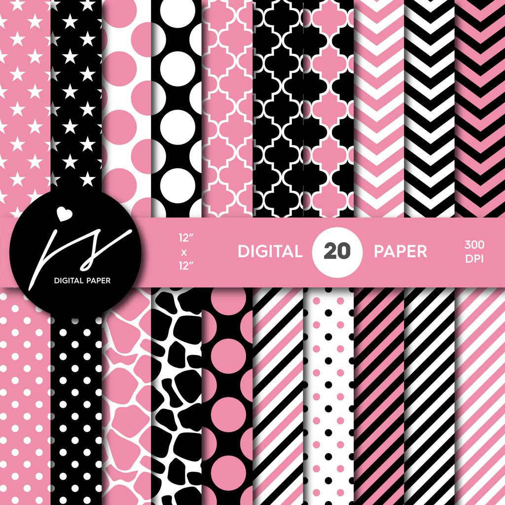 Watermelon pink and black digital paper with polka dots, stripes, chevron, damask and safari scrapbooking bundle, PA-179