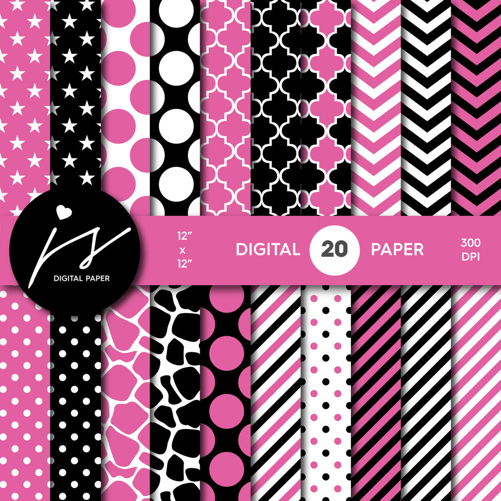 Valentine pink and black digital paper with polka dots, stripes, chevron, damask and safari scrapbooking bundle, PA-181