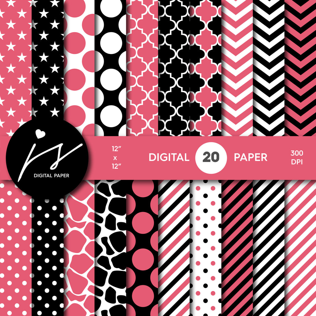 Guava pink and black digital paper with polka dots, stripes, chevron, damask and safari scrapbooking bundle, PA-184