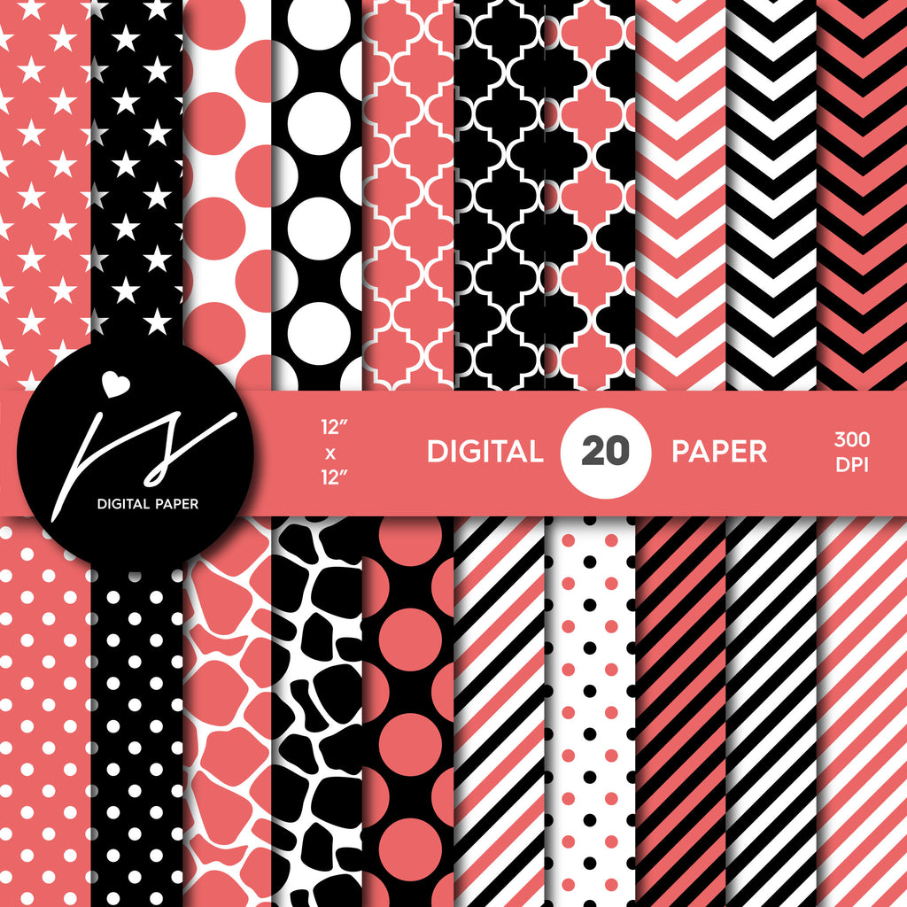 Salmon and black digital paper with polka dots, stripes, chevron, damask and safari scrapbooking bundle, PA-185