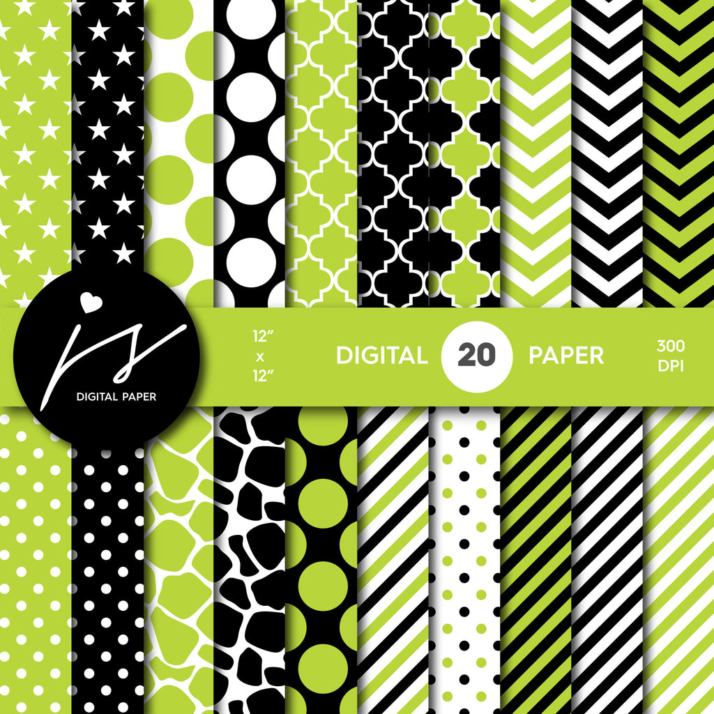 Light green and black digital paper with polka dots, stripes, chevron, damask and safari scrapbooking bundle, PA-193