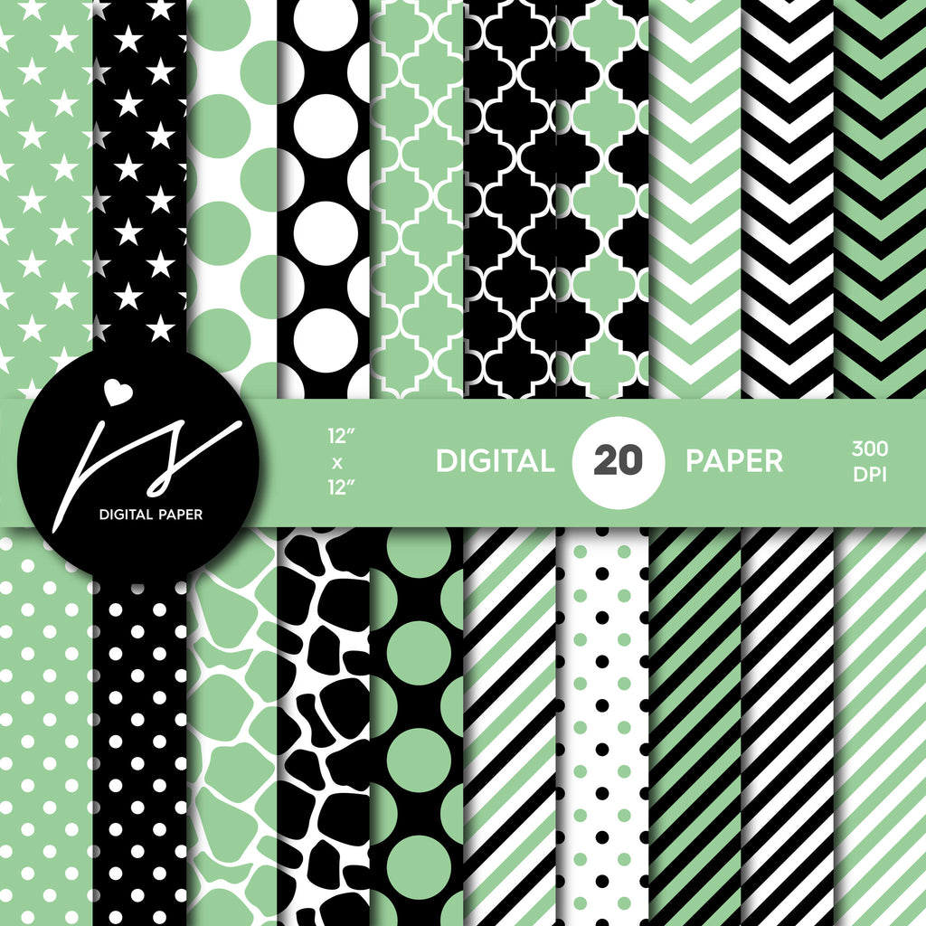Jade green and black digital paper with polka dots, stripes, chevron, damask and safari scrapbooking bundle, PA-194