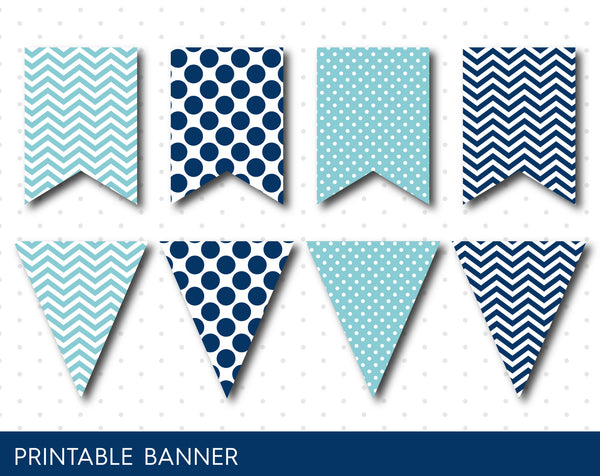 Polka dot banner and stripes banner in mint and navy blue, PB-02