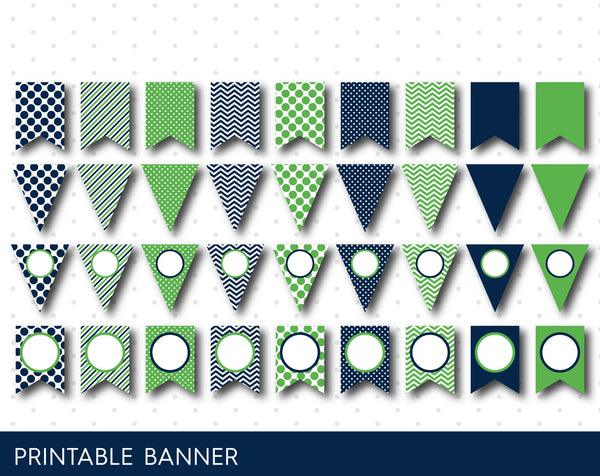 Green party banner, Green DIY birthday banner, Blank banner in green and navy blue, PB-03