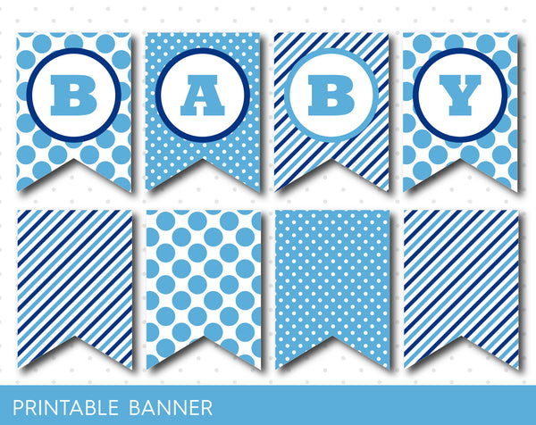 Blue polka dot banner, Blue striped banner, Full alphabet birthday banner in blue, PB-04