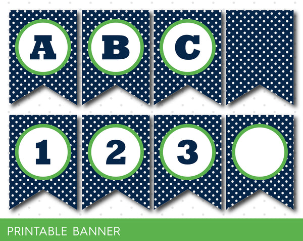 Birthday banner in navy blue and green, Green and navy banner, PB-07
