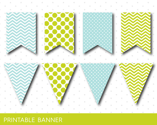 Green and min party banner, Mint birthday banner, Mint baby shower banner, Blank banner, Mint triangle banner, PB-10