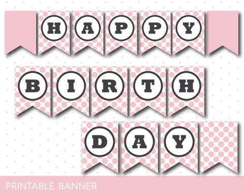 Baby pink printable birthday party banner with polka dots, PB-118
