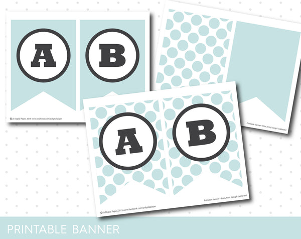 Light blue printable birthday party banner with polka dots, PB-126