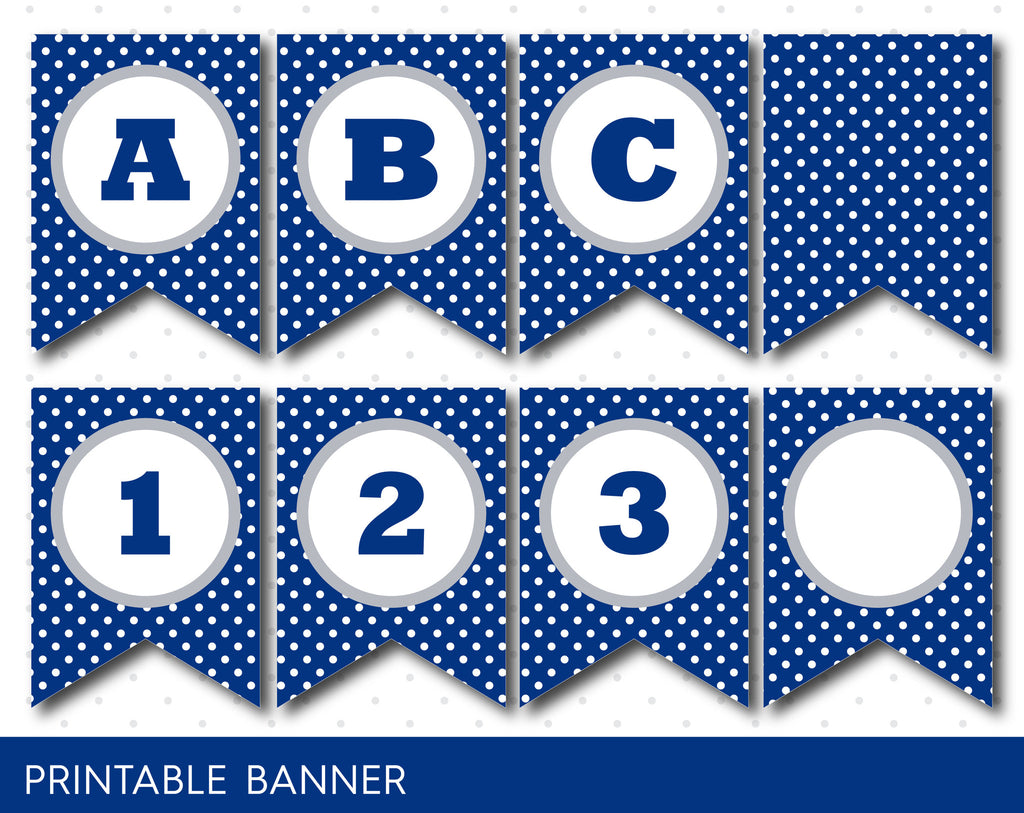Grey And Navy Blue Banner Party Banner Birthday Banner Printable