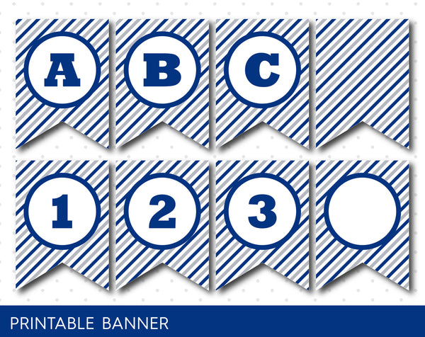 Grey and navy blue banner, Party banner, Birthday banner, Printable banner, PB-13