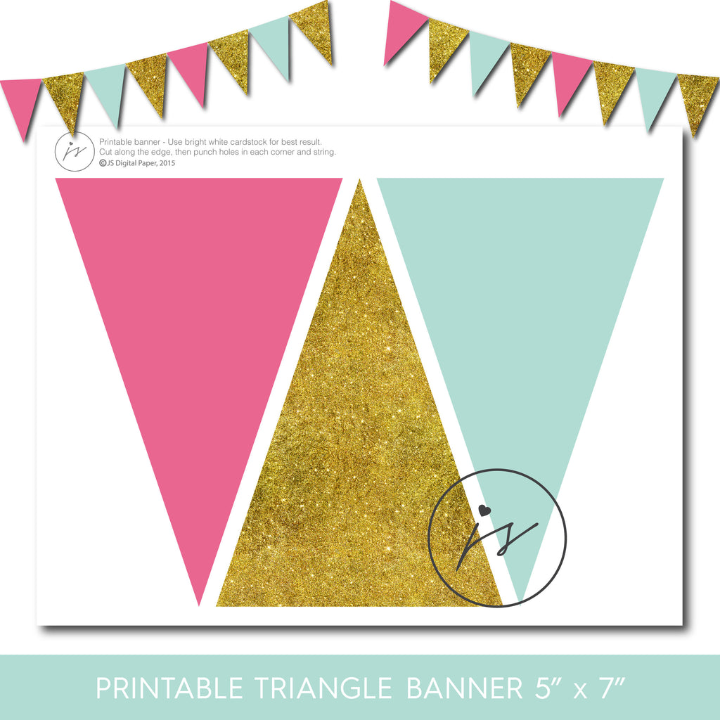 Mint, hot pink and gold triangle party banner, PB-136