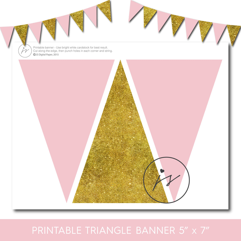 Pink and gold glitter banner, PB-147