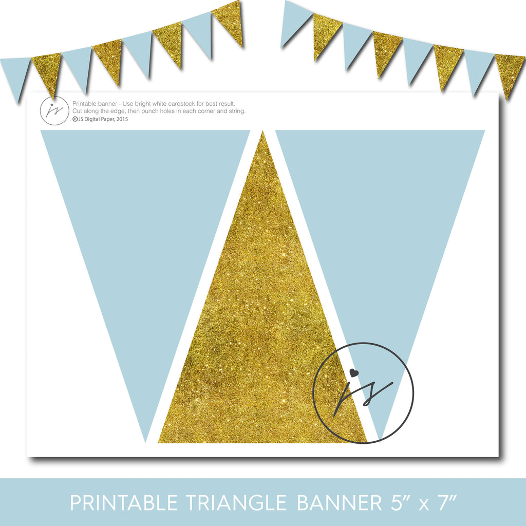 Gold and blue party banner, Glitter party banner, Gold triangle bunting banner, PB-150