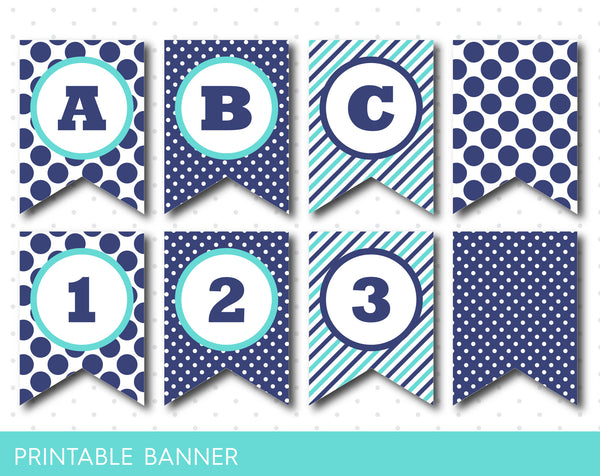 Turquoise and bile polka dot banner, Blue and turquoise striped banner, PB-16