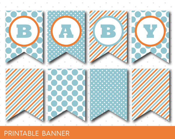 Orange and mint blue banner, Orange and mint blue baby banner, PB-18