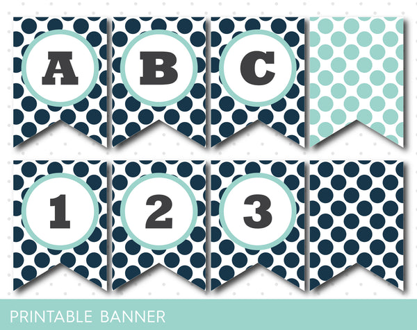 Green happy birthday banner, Mint green birthday banner, Mint green banner, PB-207