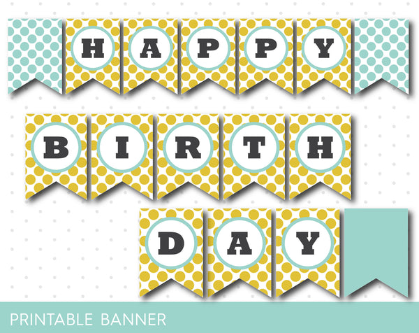 Sennep yellow and mint printable banner with polka dots, full alphabet party banner with numbers, PB-208