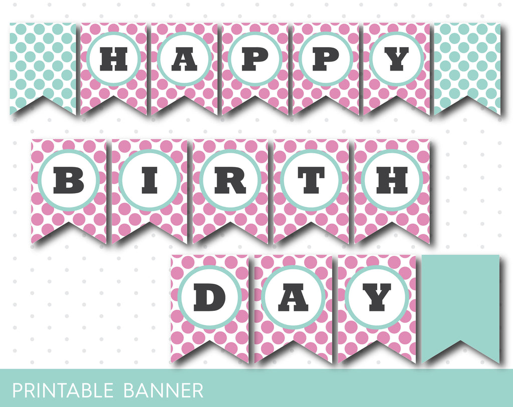 Lollipop pink and mint printable banner, PB-213