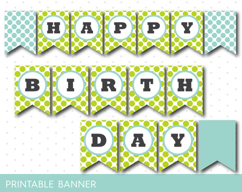 Birthday banner in mint green with big polka dots, PB-215