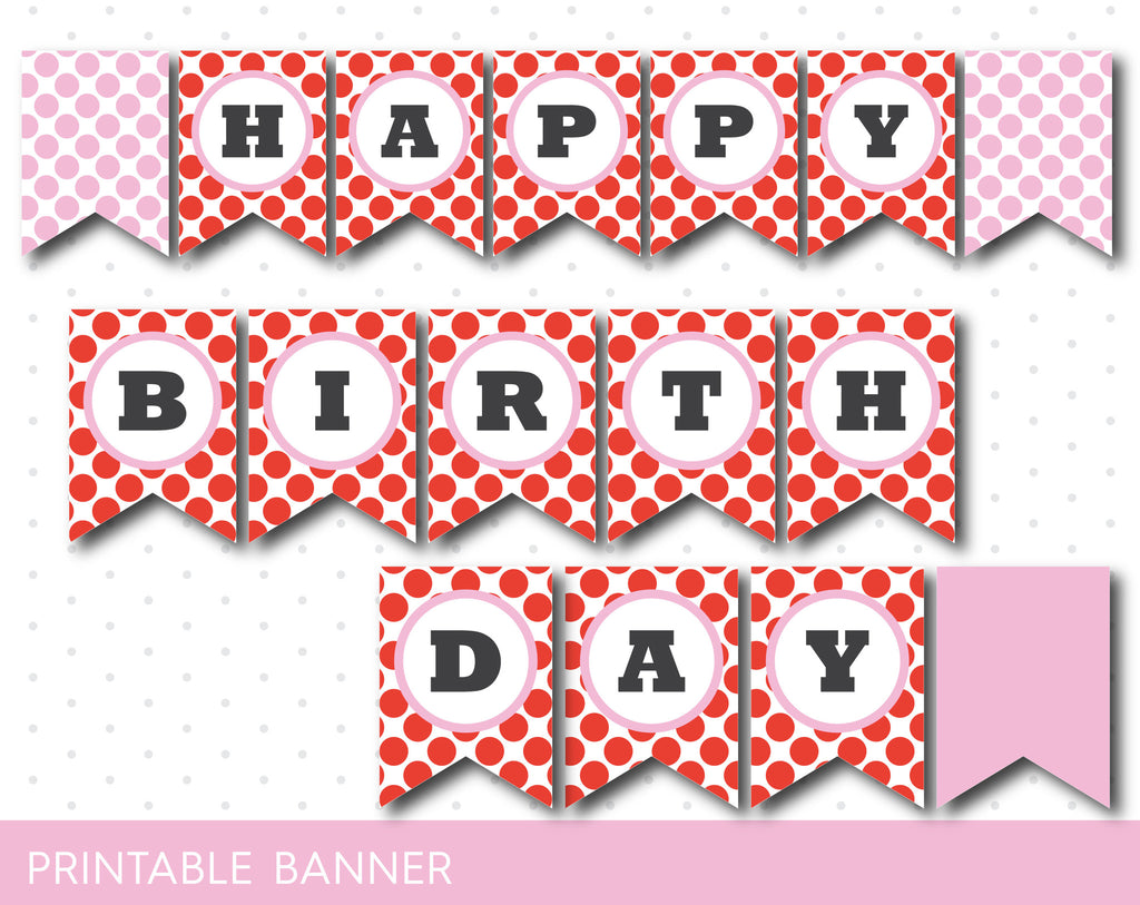 Red and pink printable banner with polka dots, full alphabet party banner with numbers, PB-224