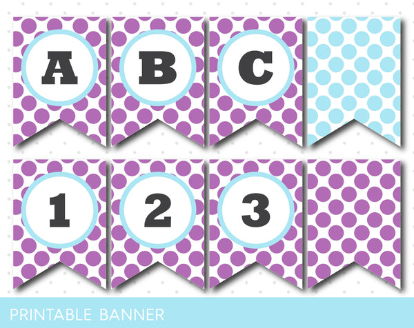 Printable purple banner with polka dots, Purple full alphabet party banner with numbers, PB-226