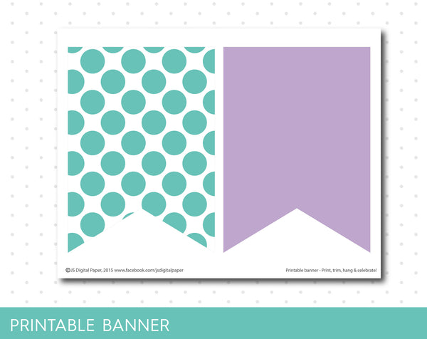 Turquoise and purple printable banner with polka dots, full alphabet party banner with numbers, PB-229