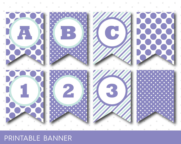 Mint and purple banner, Purple and mint happy birthday banner, PB-23