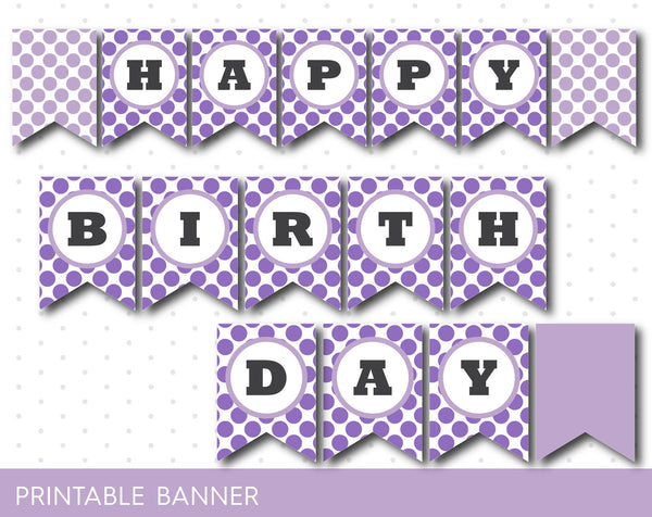 Purple printable banner with polka dots, full alphabet party banner with numbers, PB-230