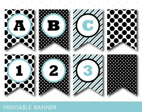 Black and mint blue banner, Birthday banner with stripes and polka dots, PB-24